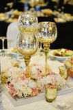 Close-up catering table set. Catering table set service with silverware, napkin and glass at restaurant before party and wedding Stock Photos