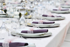 Close-up catering table set Royalty Free Stock Images