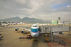 Close up of Cathay Pacific 747 plane royalty free stock images