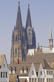 Close up of the cathedral in Cologne in germany Stock Photography