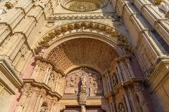 Close up of Cathedral, in Palma de Maloorca. Close up view of the main entrance door of Cathedral, in Palma de Maloorca, Spain Stock Image