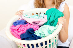 Close-up of a caucasian woman doing laundry Royalty Free Stock Photography