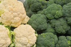 Close up of cauliflower and broccoli Royalty Free Stock Images