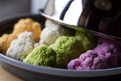 Close up of cauliflowers ready for steam cooking Royalty Free Stock Photos