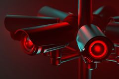 Close up on cctv lens as a metaphor of society controlled with surveillance system. 3D rendering. Close up on cctv lens as a metaphor of society controlled with stock illustration