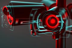 Close up on cctv lens surrounded by some kind of futuristic interface as a metaphor of future societies controlled with. Surveillance system. 3D render stock illustration