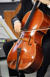 Close up of a cellist playing a cello Stock Image