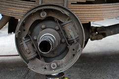 Close up of center hub on truck in process of damaged Stock Photography