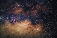 Close up center of the Milky way. Galaxy with stars and space dust in the universe, Long exposure photograph, with grain royalty free stock photo