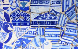 Close-up of the ceramics in Park Guell Royalty Free Stock Photos
