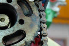 Close up chain and cogwheel in machine system Royalty Free Stock Image