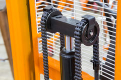 Close up of Chain in handlift royalty free stock images