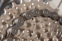 Close up of chain on  9-speed cassette on rear wheel of bike, st Royalty Free Stock Photos