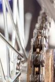 Chain and sprocket of bicycle. In close up of a Chain and sprocket of bicycle royalty free stock photography