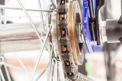 Chain and sprocket of bicycle. In close up of a Chain and sprocket of bicycle royalty free stock images