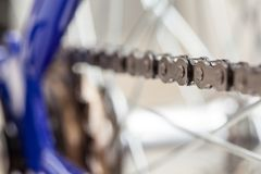 Chain and sprocket of bicycle. In close up of a Chain and sprocket of bicycle stock photo