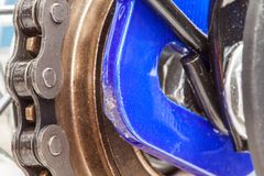 Chain and sprocket of bicycle. In close up of a Chain and sprocket of bicycle royalty free stock image