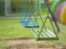 Close-up, chain swing in the Playground. Royalty Free Stock Images