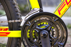 Close-up of chainwheel and Shimano Tourney front derailler on bi Stock Images