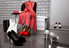 Close-up of the chair, red scarf,  bag and  shoes. Royalty Free Stock Photos