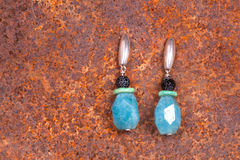 Close up of chalcedony earrings Stock Images