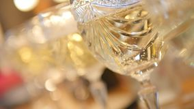Close up Champagne bubble in glass slowmo.  stock footage