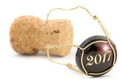 Close up of champagne cork 2017. Close up of champagne cork isolated on white background Stock Photos