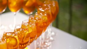 Champagne poured into glases at reception