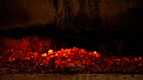 Close up charcoal ash fire burning hot royalty free stock photography