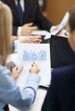 Close up of chats, laptop and graphs in office Royalty Free Stock Photo