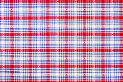 Close up on checkered tablecloth fabric. Stock Image