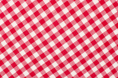 Close up on checkered tablecloth fabric. Stock Photo