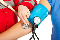 Close up of checking blood pressure Royalty Free Stock Photos