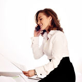 Close-up of a cheerful businesswoman. Wearing headset. white background Stock Photos