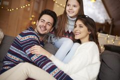 Happy family in winter chalet Royalty Free Stock Images