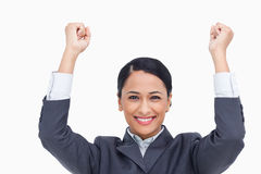 Close up of cheering saleswoman Royalty Free Stock Image