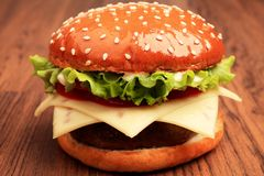Close up of cheeseburger Stock Image