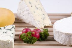 Close-up of cheeses. Close-up picture of different kind of cheeses stock photography