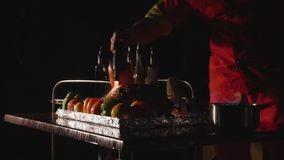 Close-up of chef cooking a main banquet dish. Vegetables and meat with fire show. Close-up of chef cooking a main banquet dish via gas-burner. Vegetables and stock video