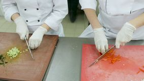 Close up of chefs slicing fresh celery and pepper on a wooden chopping board.  stock video footage