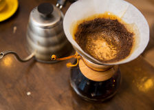 Close up of chemex coffeemaker and coffee pot Stock Photography