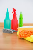Close-up of chemical spray bottles and cleaning spone Royalty Free Stock Photo