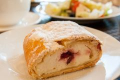 Close-up of cherry strudel dusted with powdered sugar on white plate. Sweet pastry dessert. Close-up of cherry strudel dusted with powdered sugar on white plate royalty free stock images