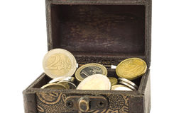 Close Up Chest with Euro Currency Stock Photo