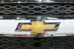 Close up of Chevrolet logo on captiva car at The 35th Bangkok International Motor Show, Concept Beauty in the Drive on March 27. Bangkok -March 27 : Close up of royalty free stock image