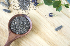 Close up chia seeds. In wooden spoon with natural seeds on background Royalty Free Stock Image
