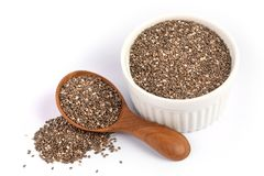 Close up a Chia seeds in wooden spoon , superfood and rich of nu royalty free stock photos