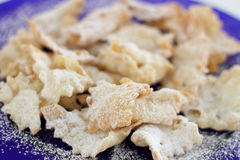 Close up of Chiacchiere (or Bugie) -Italian carnival cookies Stock Photography