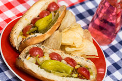 Close Up Chicago Style Hot Dogs With Soda Pop Stock Image