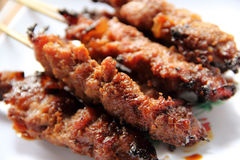 Close up of Chicken Satay Royalty Free Stock Images